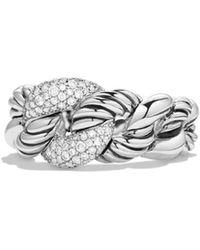 David Yurman - 'belmont' Curb Link Ring With Diamonds - Lyst