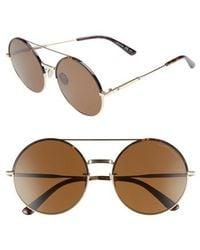 Bottega Veneta - 58mm Round Aviator Sunglasses - Lyst