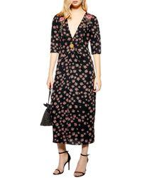 6cc644d43c TOPSHOP - Embellished Floral Midi Dress - Lyst