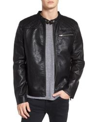 TOPMAN - Washed Faux Leather Racer Jacket - Lyst