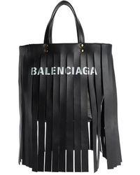 Balenciaga - Extra Small Laundry Logo Fringe Calfskin Tote - - Lyst