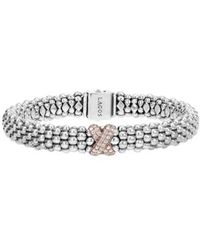 Lagos - 'caviar' Gold Diamond Rope Bracelet - Lyst