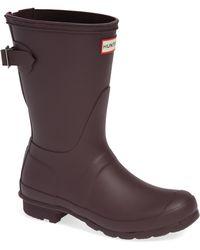 HUNTER - Original Short Back Adjustable Waterproof Rain Boot - Lyst