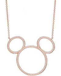 Disney - Mickey Mouse Open Silhouette Rose Gold & Crystal Pendant Necklace - Lyst