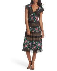 Tadashi Shoji - Embroidered Pleat Tulle Midi Dress - Lyst