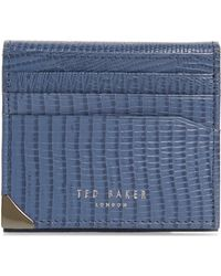 a696ed2ff Lyst - Ted Baker Binxx Colored Leather Card Case in Green for Men