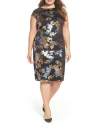 Eci - Foil Print Sheath Dress - Lyst