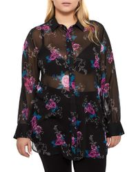 Addition Elle - Floral Print Sheer Button Down - Lyst