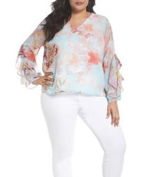 4cc49edf167b9 Vince Camuto - Faded Bloom Ruffle Sleeve Blouse - Lyst