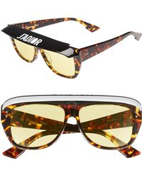 ae9fe3fdc7fd Dior - Club2s 56mm Square Sunglasses With Removable Visor - Dark Havana -  Lyst