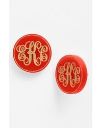 Moon & Lola - 'chelsea' Medium Personalized Monogram Stud Earrings (nordstrom Exclusive) - Lyst