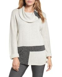 NIC+ZOE - Rooted Cowl Neck Cotton Blend Sweater - Lyst