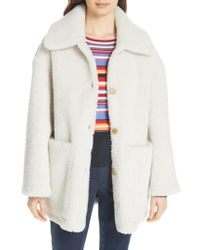 Tory Burch - Oliver Genuine Shearling Coat - Lyst