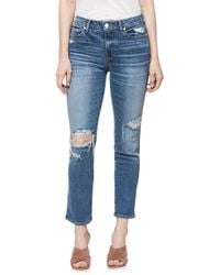 PAIGE - Verdugo Transcend Vintage Ripped Ankle Skinny Jeans - Lyst