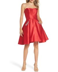 Blondie Nites - Strapless Satin Fit & Flare Party Dress - Lyst