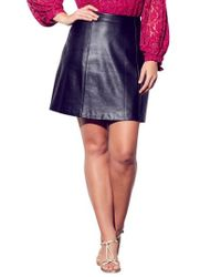 City Chic - Party Faux Leather Miniskirt - Lyst