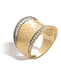 John Hardy - Hammered Saddle Ring With Diamonds - Lyst