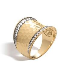 John Hardy - Hammered Saddle Ring With Diamonds - Lyst