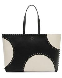 Valentino - Rockstud Large Dot Leather Tote - - Lyst