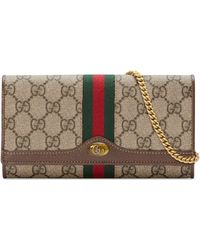 31f990c82838 Gucci Microssima Leather Chain Wallet in Gray - Lyst