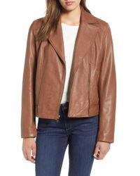 Cole Haan - Drum Dyed Leather Moto Jacket - Lyst