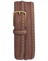 Cole Haan - Brogue Nubuck Leather Belt - Lyst