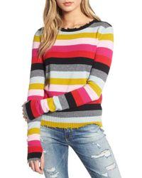 Pam & Gela - Distressed-trim Striped Sweater - Lyst