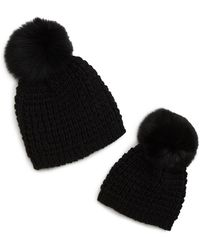 7e60dfabc91 Kyi Kyi - Mom   Me Knit Hats With Genuine Fox Fur Poms Set - Lyst