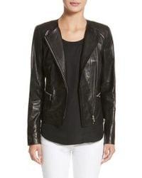 Lafayette 148 New York - Caridee Glazed Lambskin Leather Jacket - Lyst