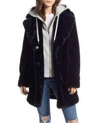 Kendall + Kylie - Hooded Faux Rabbit Fur Jacket - Lyst