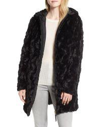 Via Spiga - Reversible Hooded Faux Fur Coat - Lyst