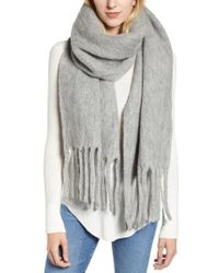 AllSaints - Solid Brushed Wool Blanket Scarf - Lyst