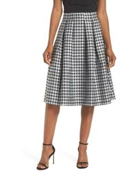 Eliza J - Houndstooth Pleated Skirt - Lyst