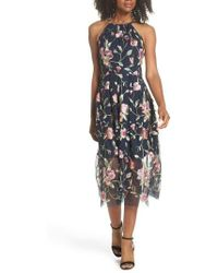 Vince Camuto - Embroidered Midi Dress - Lyst