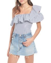Kendall + Kylie - One-shoulder Seersucker Bodysuit - Lyst