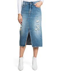 PRPS - Split Front Distressed Denim Midi Skirt - Lyst