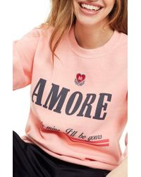 TOPSHOP - Embroidered Amore Sweatshirt - Lyst