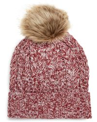 Sole Society - Cable Knit Beanie With Faux Fur Pom - - Lyst
