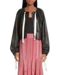 Yigal Azrouël - Ruched Neck Leather Jacket - Lyst
