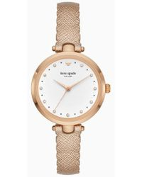 Kate Spade - Crystal Accent Scallop Holland Leather Strap Watch - Lyst