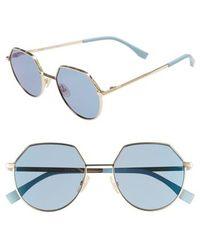 Fendi - 54mm Round Sunglasses - Ruthenium - Lyst