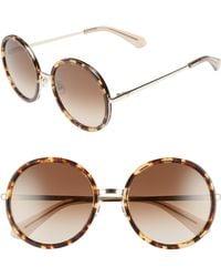 Kate Spade - Lamonica 54mm Gradient Lens Round Sunglasses - Havana/ Gold - Lyst