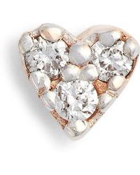 Kismet by Milka - Single Diamond Tiny Heart Earring - Lyst