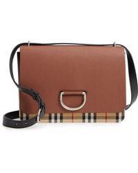 d50b97e2364d Burberry - Medium D-ring Vintage Check   Leather Crossbody Bag - Lyst