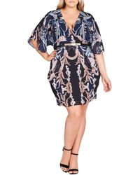 City Chic - Deco Print Belted Dress - Lyst