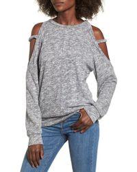 Lush - Heathered Cold Shoulder Sweatshirt - Lyst