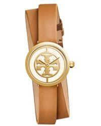 Tory Burch - Reva Logo Dial Double Wrap Leather Strap Watch - Lyst