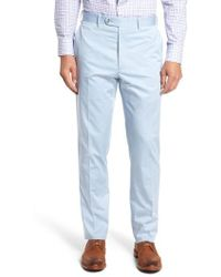 JB Britches | Flat Front Solid Stretch Cotton Trousers | Lyst