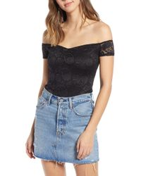 Love, Fire - Off The Shoulder Lace Bodysuit - Lyst