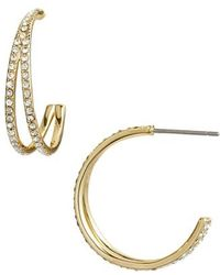 Nordstrom - Pave Crystal Hoop Earrings - Lyst